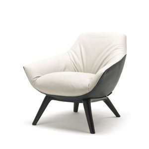 moderner Sessel / Leder / schwarz / weiß