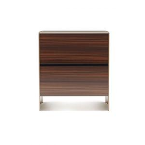 modernes Sideboard / Holz / Metall / Glas