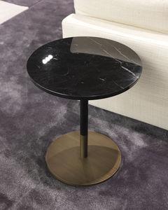 moderner Lampentisch / Holz / Marmor / mit Fußgestell aus Aluminium