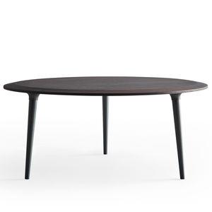 moderner Couchtisch / Holz / Marmor / rund
