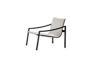 moderner Sessel / Metall / Stoff / Leder