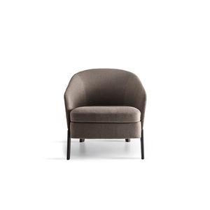 moderner Sessel / Stoff / Leder / grün