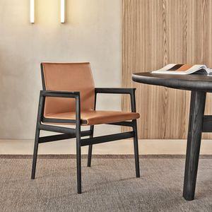 moderner Stuhl / Polster / mit Armlehnen / Stoff