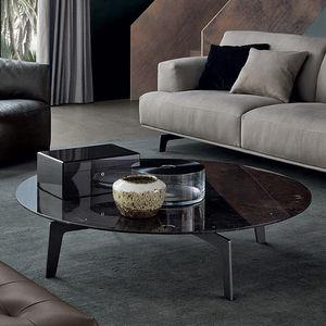 moderner Couchtisch / Holz / Marmor / mit Fußgestell aus Stahlblech