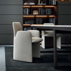 moderner Stuhl / Polster / mit Armlehnen / mit Rollen