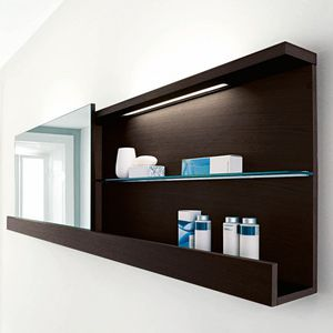wandmontiertes Regal / modern / mattlackiertes Holz / Badezimmer