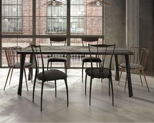 moderner Esstisch / lackiertes Holz / Stahl / Eisen