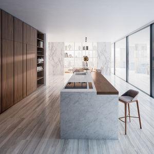 moderne Küche / Holzfurnier / aus Eiche / aus Nussbaum