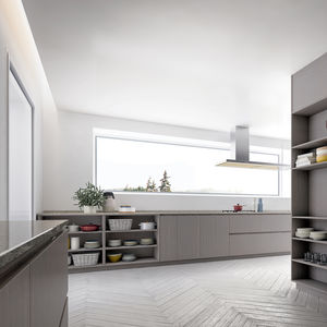 moderne Küche / Holzfurnier / aus Eiche / lackiertes Holz