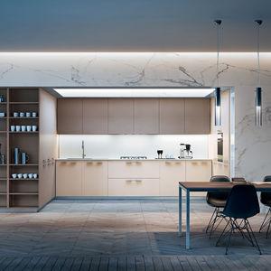 Küche mit Griffen / modern / aus Eiche / aus MDF