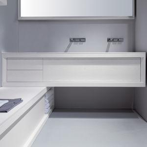 doppelter Waschtisch-Unterschrank / hängend / freistehend / aus Esche