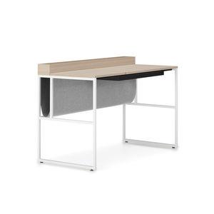 Schreibtisch aus Eiche / Stahl / modern / integrierter Stauraum