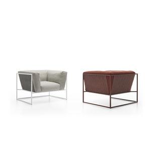 moderner Sessel / Stoff / Edelstahl / braun