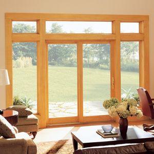 Schiebe-Glaswand / Holz / Glasfaser / Doppelverglasung