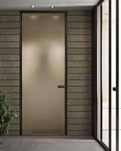 Tür für Innenbereich / einflügelig / Aluminium / Laminat