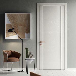 Tür für Innenbereich / einflügelig / Glas / Laminat