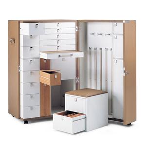 Koffer-Kleiderschrank / modern / Holz / Leder