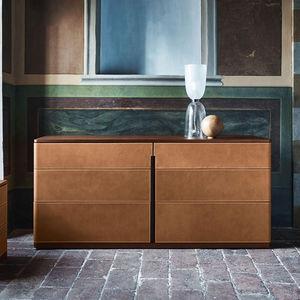 modernes Sideboard / Holz / Leder / Marmor