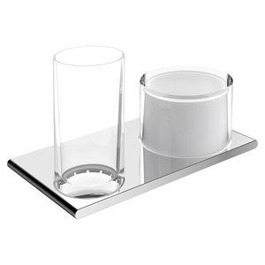wandmontiertes Regal / modern / verchromtes Metall / Glas