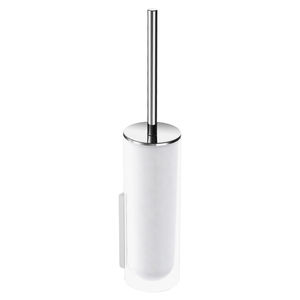 Toilettenbürste / verchromtes Metall / Glas / wandmontiert / für Hotels
