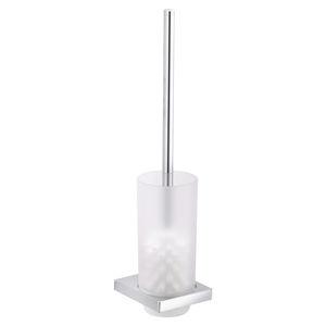Toilettenbürste / verchromtes Metall / Glas / wandmontiert / bodenstehend