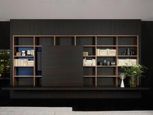 moderne Bibliothek / für Büro / lackiertes Holz / Aluminium