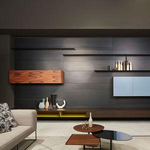 moderne Wohnwand / Holz / Stahl