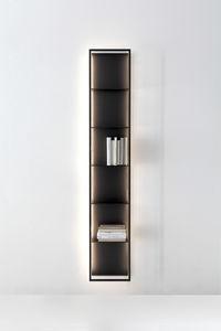 wandmontierte Bibliothek / modern / Metall / mit integrierter Beleuchtung