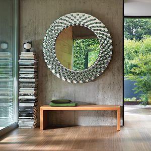 wandmontierter Spiegel / modern / rechteckig / rund