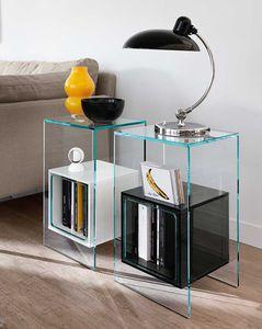 moderner Beistelltisch / Glas / quadratisch / mit Stauraum