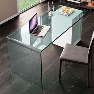 Holz-Schreibtisch / Glas / Leder / modern