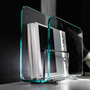 moderner Zeitschriftenständer / für Privatgebrauch / Stahl / gekrümmtes Glas