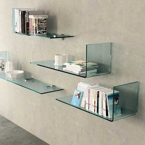 wandmontiertes Regal / modern / verchromtes Metall / gekrümmtes Glas