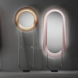 Standspiegel / LED beleuchtet / modern / rund