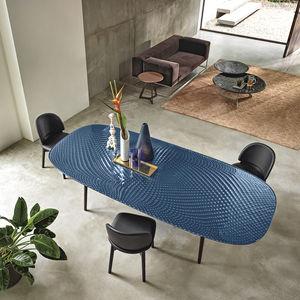 moderner Tisch / Hartglas / mit Fußgestell aus gestrichenem Metall