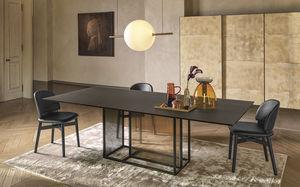 moderner Tisch / Hartglas / mit Fußgestell aus gestrichenem Metall / rechteckig