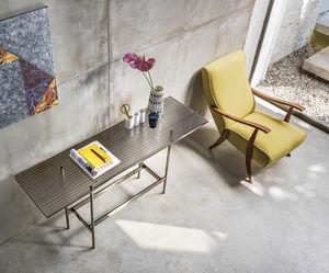 moderner Konsolentisch / Glas / mit Fußgestell aus Metall / rechteckig