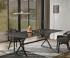 moderner Tisch / gestrichenes Metall / Glas / mit Fußgestell aus gestrichenem Metall