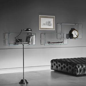 wandmontiertes Regal / modern / gekrümmtes Glas / Wohnzimmer