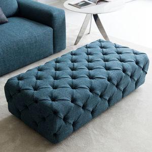 moderner Sitzpuff / Stoff / Leder / rechteckig