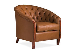 Chesterfield-Sessel / Holz / Stoff / Leder