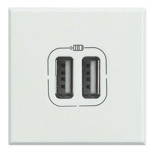 USB-Steckdose / doppelt / wandmontiert / Edelstahl