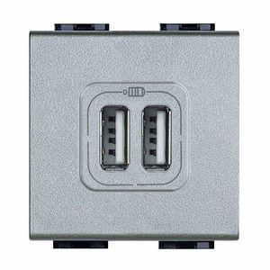 USB-Steckdose / doppelt / wandmontiert / Metall