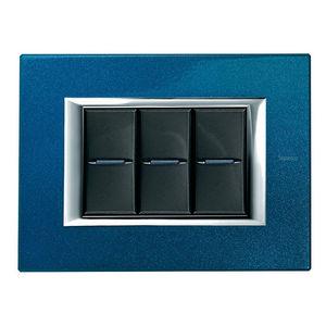 Drucktaster-Schalter / Einbau / 3-Fach / Aluminium