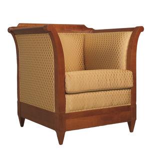 klassischer Sessel / Leder / Holz / schwarz