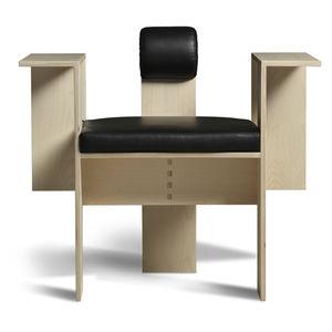 Sessel / originelles Design / Stoff / Leder / aus Sperrholz