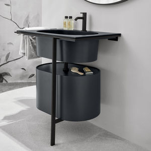 freistehender Waschtisch-Unterschrank / lackiertes Holz / Keramik / Metall