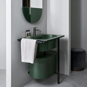 freistehender Waschtisch-Unterschrank / Holz / Keramik / Metall