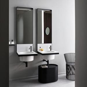 doppelter Waschtisch-Unterschrank / hängend / Keramik / Metall