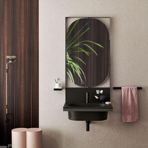 hängender Waschtisch-Unterschrank / Keramik / modern / mit beleuchtetem Spiegel